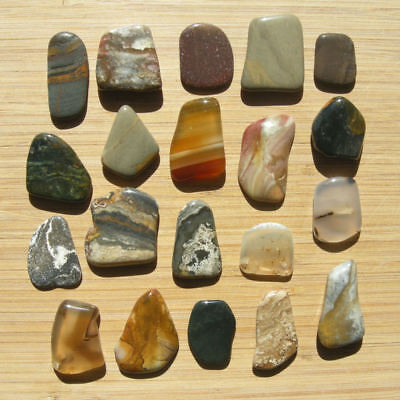 Lot of 20 Small Polished Stone Crystal Slices Natural Rocks Nice Colorful Mix