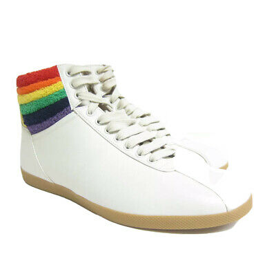 abc70a51def P-513244 New Gucci White High Top Sneaker Rainbow Ankle Sneakers US 8 UK 7