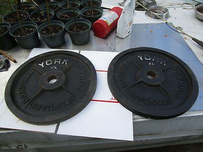 """Vintage York Barbell Olympic Milled 45 lb 45 Pounds Weight Plates Pair 2/"""" Lb lbs"""