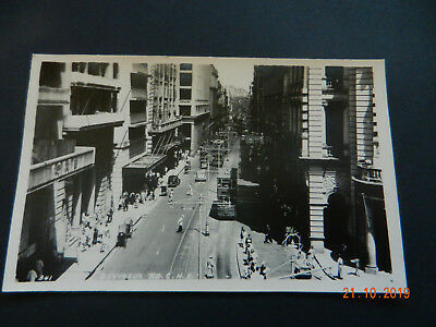 HONG KONG des voeux road approx 1955, trams/cars, original photographic postcard