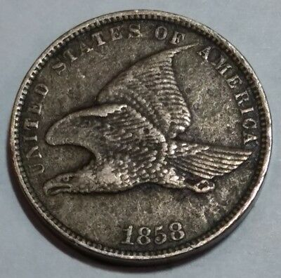 XF 1858 small letters FLYING EAGLE Cent. some surface roughness. lot#1