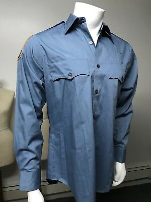 Retired Vintage M. Setlow & Son NYPD Police Poly/Rayon Shirt with Patch 15 x 34