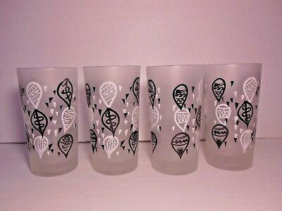 Vintage Frosted Glass Lot Of 4 Happy Time Party Balloon Theme Black & White