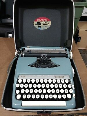 Vintage Smith Corona SCM Sterling Portable Typewriter Blue With Hard Case EUC