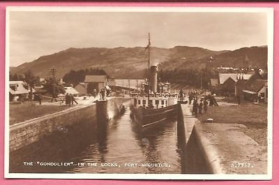 """The """"Gondolier"""" in the locks, Fort Augustus, Scotland postcard. Real Photo."""