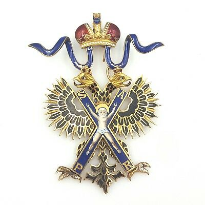 Imperial Russian Gold & Enamel Badge Of The Order Of Saint Andrew