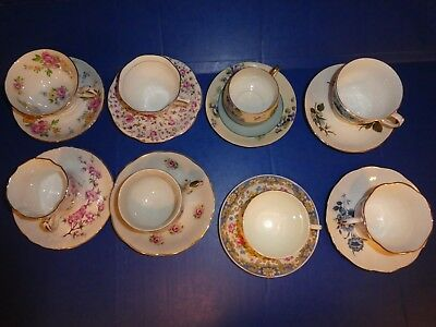 8 Fine Bone China Tea Cup and + Saucer Sets Royal Albert Queen Anne etc. England