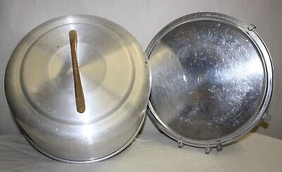 Aluminum Cake Carrier Vintage Mirro Caddy Holder Locking Clamps & Wood Handle