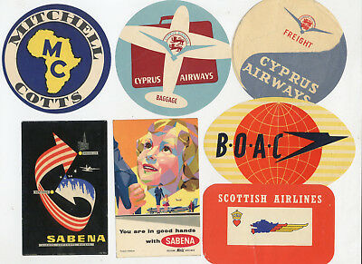 Airlines Old Luggage Label-Lot 7 Labels