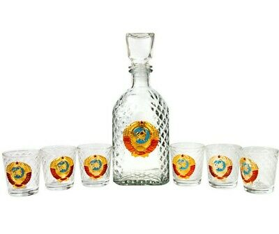6 Shot Glasses and Glass Decanter w/ Lid USSR Soviet Coat of Arms