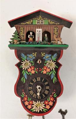 Rare Antique Hand Pianted Cuckoo Wall Clock & Weather Station Spairs Or Repair