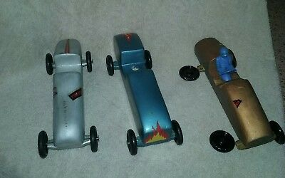 Three Vintage Pinebox Pinewood Derby Cars. Boy Scouts Good Condition