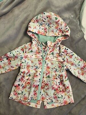 Baby Girl Zara Coat Parka Flowers Great Condition 3-6 Months