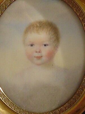 Miniature portrait of sweet baby, cloud background, early 1800s