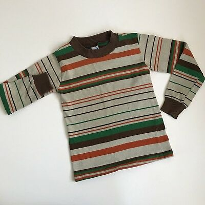 Vintage Childrens Long Sleeve Shirt Brown Multicolor Striped Kids Boys GUC 4T 5T