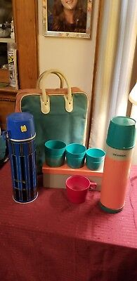 Vintage Thermos/Universal picnic set w/ carrying lunch Case & Tin Box + extras