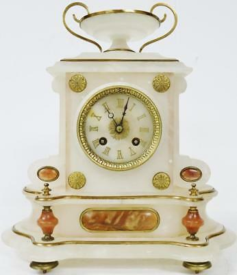 Antique French 8 Day Empire Marble/Alabaster & Bronze Bell Striking Mantle Clock