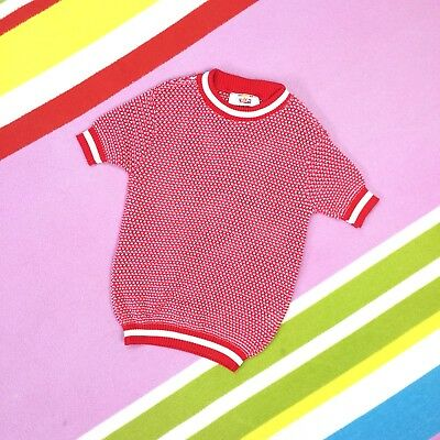 Kids 1970s Vtg Sweater Red White Short Sleeve NEW size 24 age 4 5 years Speckled