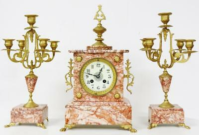 Antique French 8 Day Red Marble & Gilt Metal Architectural Mantel Clock Set
