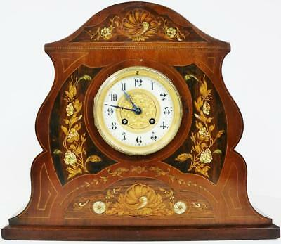 Antique French 8 Day Mahogany With Inlaid Marquetry & Bone Striking Mantel Clock