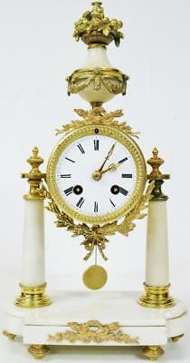 Marvellous Antique French 8 Day White Marble & Bronze Portico Mantle Clock C1850