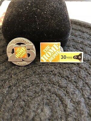 Home Depot Celebrating 25 Years And 30 Years Pins Coin And Tape Measure.