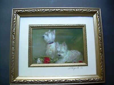 Framed &  Matted~ Artist Signed Embroidery Needlework~Cairn Terrier Dogs~10 X 11