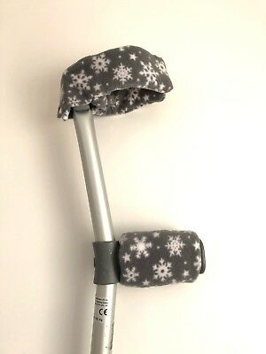 NEW!!! Padded Handle Comfy Crutch Sleeves!! - Grey Snowflake