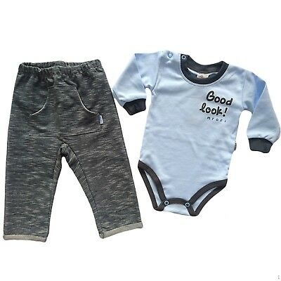 BNWT Baby Infant Boys *Outfit /Set of Bodysuit & Trousers 0-3 Months