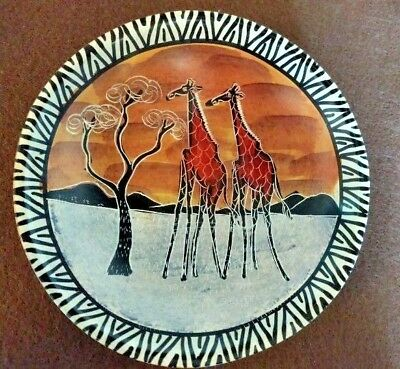 """African Stone Bowl Hand Painted Giraffes 6""""  signed by Kioko"""