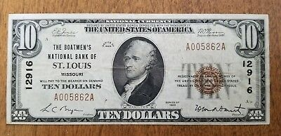 1929 $10 Boatmen's National Bank St. Louis National Currency Note Bill