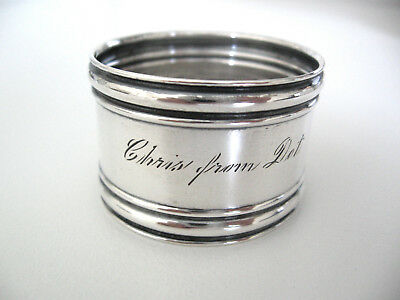 """Fine Sterling silver napkin ring engraved  """"CHRIS FROM DOT"""""""