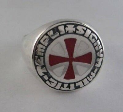 Solid silver Knight Templar ring - 2423e