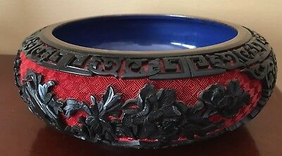 Chinese Hand Carved Red Lacquer Cinnabar Bowl Plate Porcelain Enamel Brass Trim