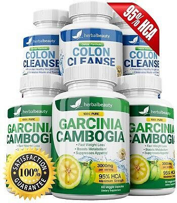 3 GARCINIA CAMBOGIA + 3 COLON CLEANSE 95% HCA 3000mg Weight Loss Herbal Beauty