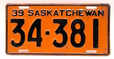 1939 SASKATCHEWAN  - CANADA License Plate  0