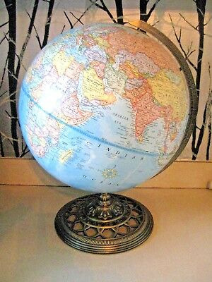 "Vintage George F. Cram Quality 12"" World Globe On Antique Brass Metal Fancy Base"