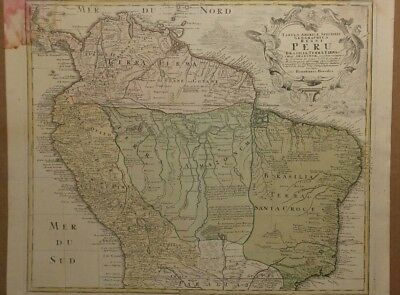 1748 Northern South America Map, Hand Tinted Brazil Venezuela Columbia Amazon