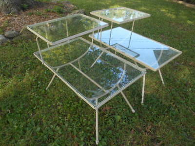 Pair Vintage Mid Century Modern Steel/ Iron Step End Tables w/ Glass Tops Patio