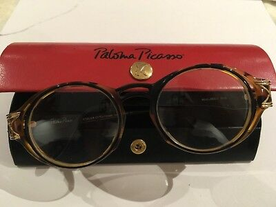PALOMA PICASSO Glasses With RED /BLACK LEATHER CASE - Vintage - Made in Italy