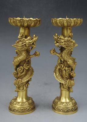 Old China Brass Copper Dragon Animal Candle Holder Candlestick g02