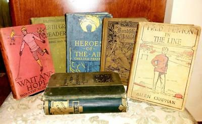 Antique Hardcover Book Lot, Collectible, School, History, Decorative Library