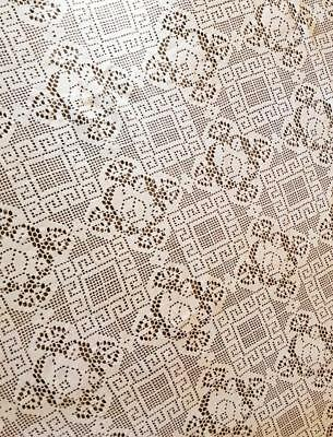 """Antique Crocheted Tablecloth & 2 Table Runners, Ivory Cotton Floral 78"""" x 66"""""""