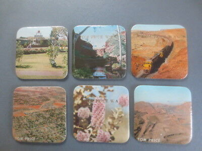 6 different TOM PRICE Mining cork back 1990,s Issued SOUVENIR COASTERS