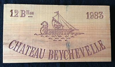 """Wooden Wine Box Side PANEL: Vintage 1983 """"Chateau Beychevelle"""" - France"""