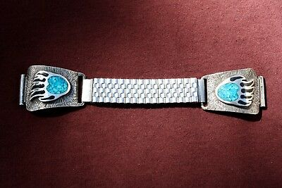 Native American Navajo Watch Band - Sterling & Turquoise Bear Claw