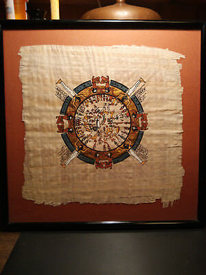 Vintage Papyrus of Zodiac in Egyptian Temple Louve Museum
