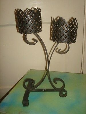 Vintage Mid Century Wrought Iron Metal Candle Holder