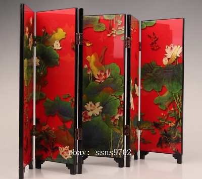 Hina's Antique Lacquerware Screen Decoration Collection Paintings Lotus Home C01