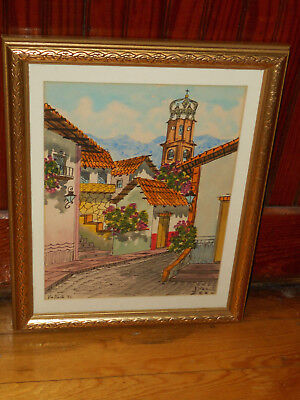 DIAZ Mexican Watercolor OUR LADY OF GUADALUPE Street Scene Signed Impressionism